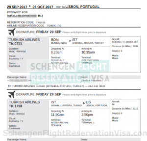 Flight Reservation For Visa OR Flight Itinerary Sample