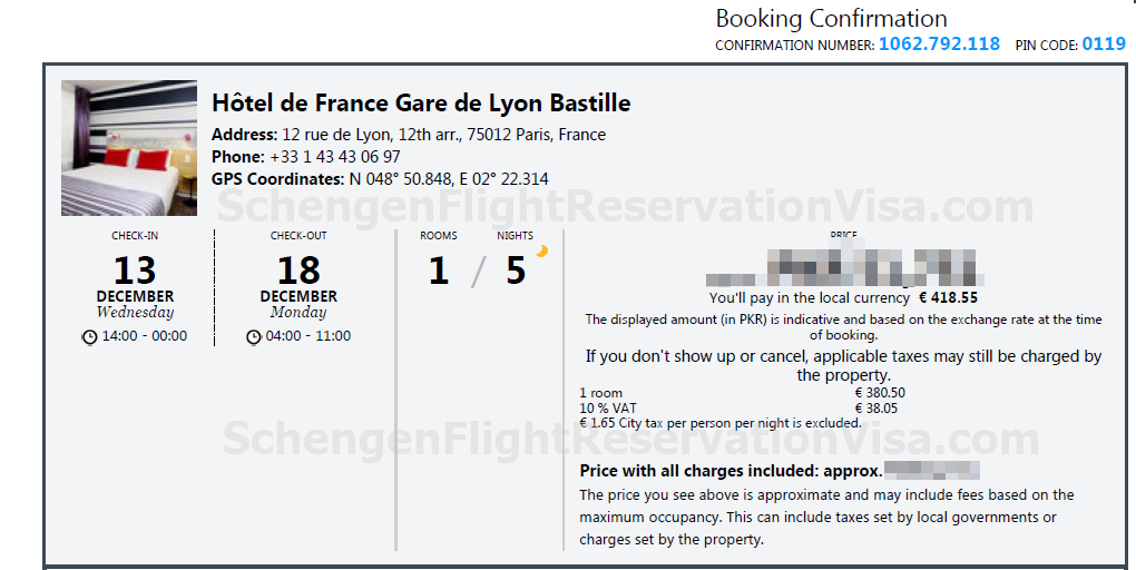 Proof of accommodation or hotel bookings get your hotel for Reservation hotel gratuit france