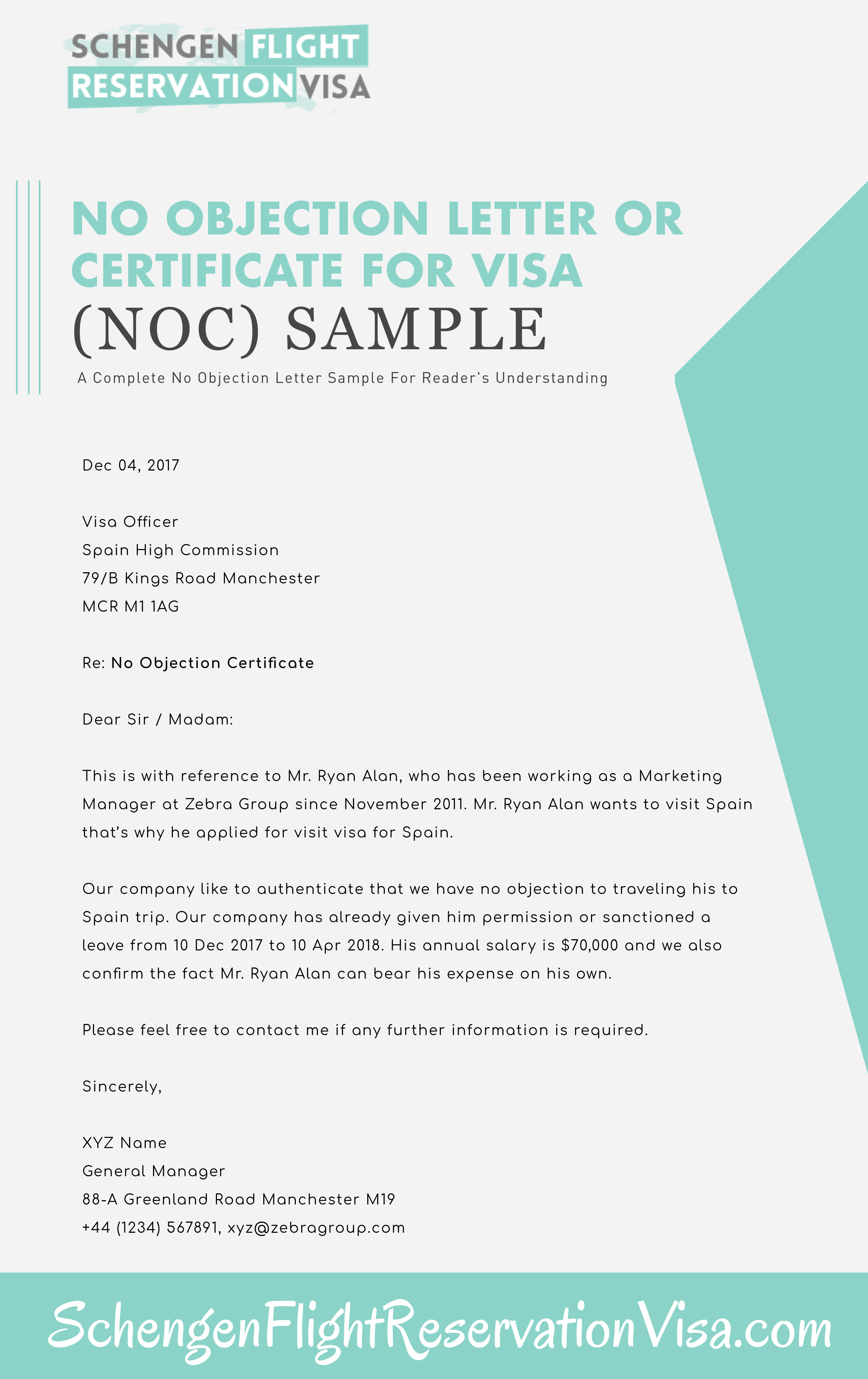 No Objection Letter For Visa Application And Sample Schengen Travel – Noc Sample Letter from Employer