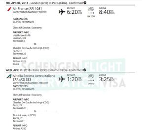 Air France Flight Reservation Sample For Visa Application