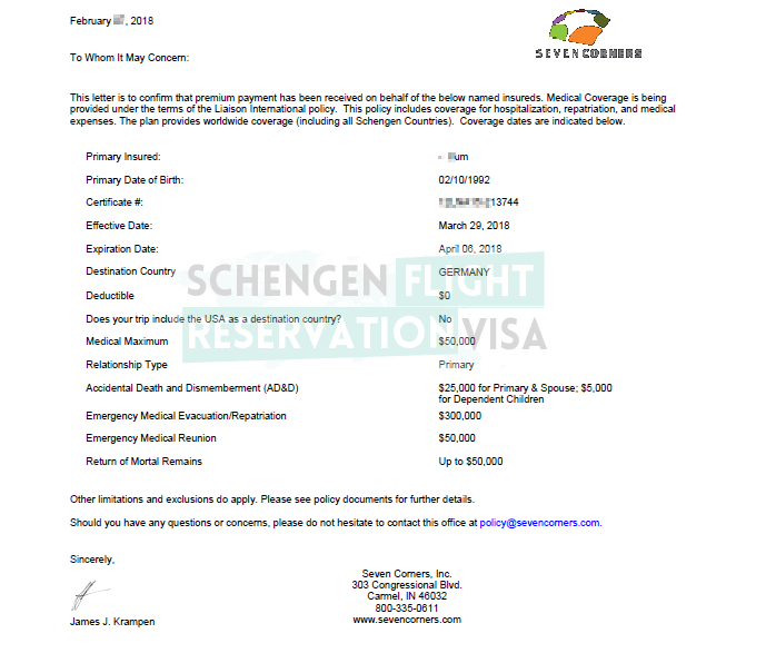 Travel Insurance Official Covering Letter Schengen Visa Travels