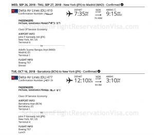 Delta Airlines Official Flight Reservation Sample - Travel Port Format