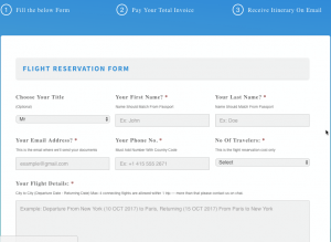 Schengen Flight Reservation Visa Website Flight Itinerary Form